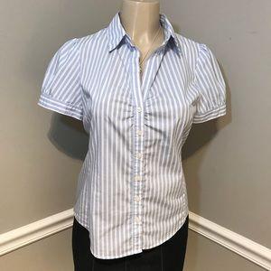 ANN TAYLOR Striped Short Sleeve Button Down Top 2